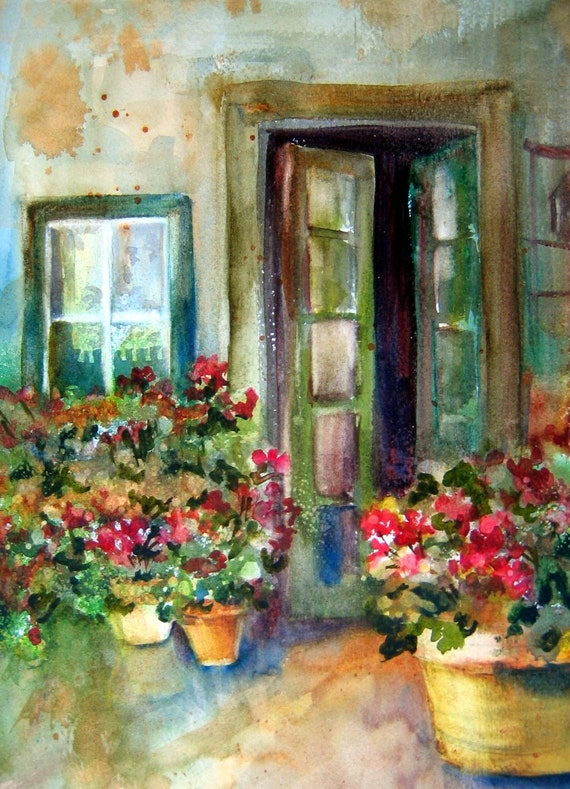 floral art signed print of a watercolor by Bonnie White Green Door