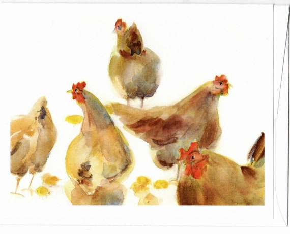 chicken and chicks blank note cards 4.25x5 with envelopes Hens and Chicks
