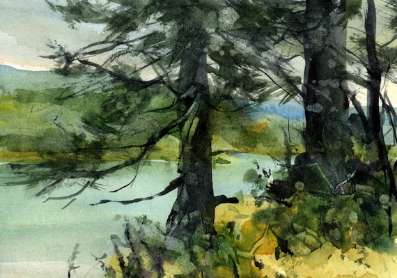 Columbia River original watercolor painting by Bonnie White looking across the river from the banks of Washington