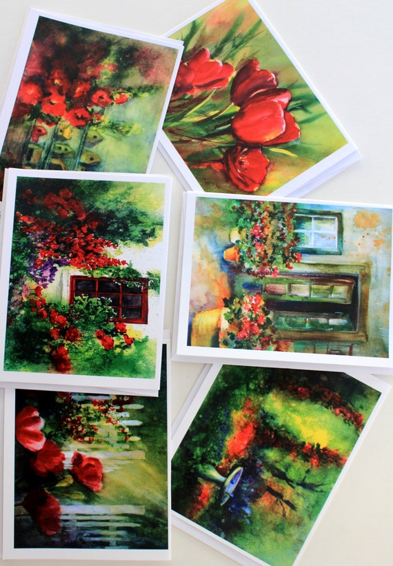 Red Floral - note cards - blank note cards - Bonnie White - made in the gorge - Columbia Gorge Artist - gorge art - watercolor cards