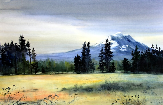 Mt. Adams 91 - signed landscape print of Mt. Adams by Bonnie White from a watercolor