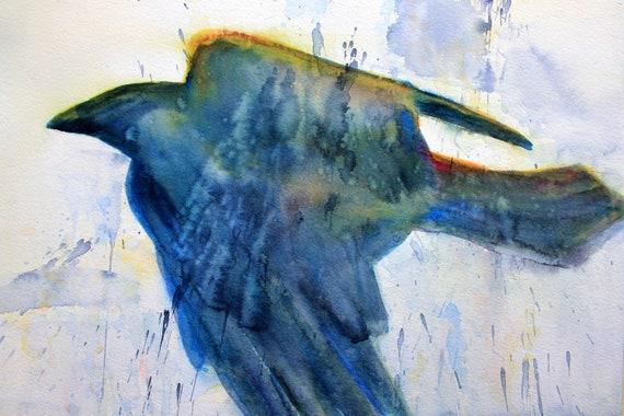 Raven 7 original watercolor painting by Bonnie White