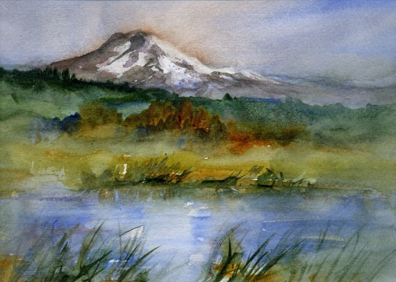 Mt. Adams from Trout Lake a print of Mt. Adams from a watercolor by Bonnie White