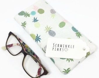 Pineapples Glasses Case, sunglasses pouch, Pineapple glasses pouch, eyeglasses case, reading glasses case, padded glasses case