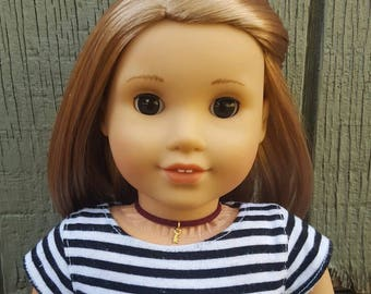 American girl doll burgundy suede gold key choker