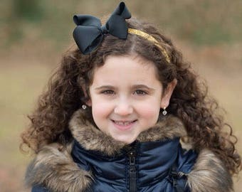 Gold Glitter Headband with Black Bow - Broadway Bowtique