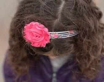 Pink Shabby Flower Headband - Broadway Bowtique