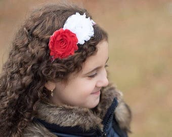 Shabby Flower Headband - Red and White - Broadway Bowtique