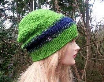 Seattle Seahawks Women Crochet Hat. Seattle Seahawks 12th Man Crochet Hat.  Green Deep Blue Slouchy Knit Beanie. Hawks football fan hat. baba32c83