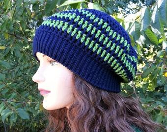 5d641537987e9b Seattle Seahawks colors Beanie. Summer Green and navy blue beret. Handmade  Hat. Green Deep Blue Crochet Hat. Vegan Friendly! Gift for her