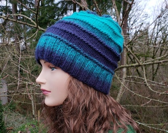 4b943c0b52abc Handmade Women Hat. Dark Blue Turquoise Hand Knit Beanie. Unique handmade  knitted hat. Wool Winter Hat. Multicolored Beanie. Gift for Her.