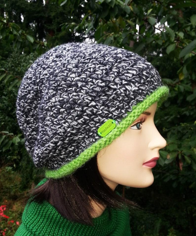 97a17ddef1a39 Gray Green White Unique Handmade Women Crochet Hat. Crochet