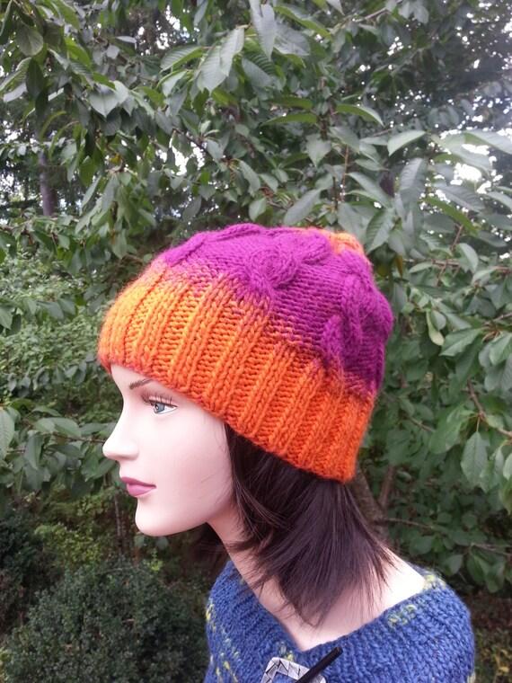 0ee938e5c20fd Unique handmade knitted hat. Tangerine Magenta Women Handmade