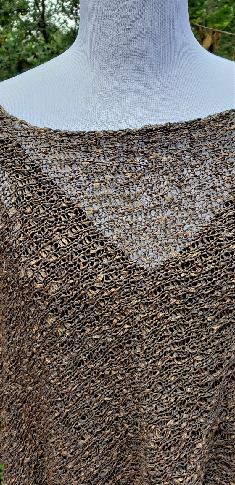 Pure Cotton shawl Asymmetric Poncho 100/% Cotton Knitted Women Brown Gold Cotton Poncho Summer Poncho Loose knit Boho Poncho