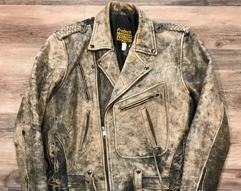 26cdbcf3 90s Vintage Black Gray Faded Distressed Thrashed Look Leather Biker Jacket  by Protech Leather Apparel