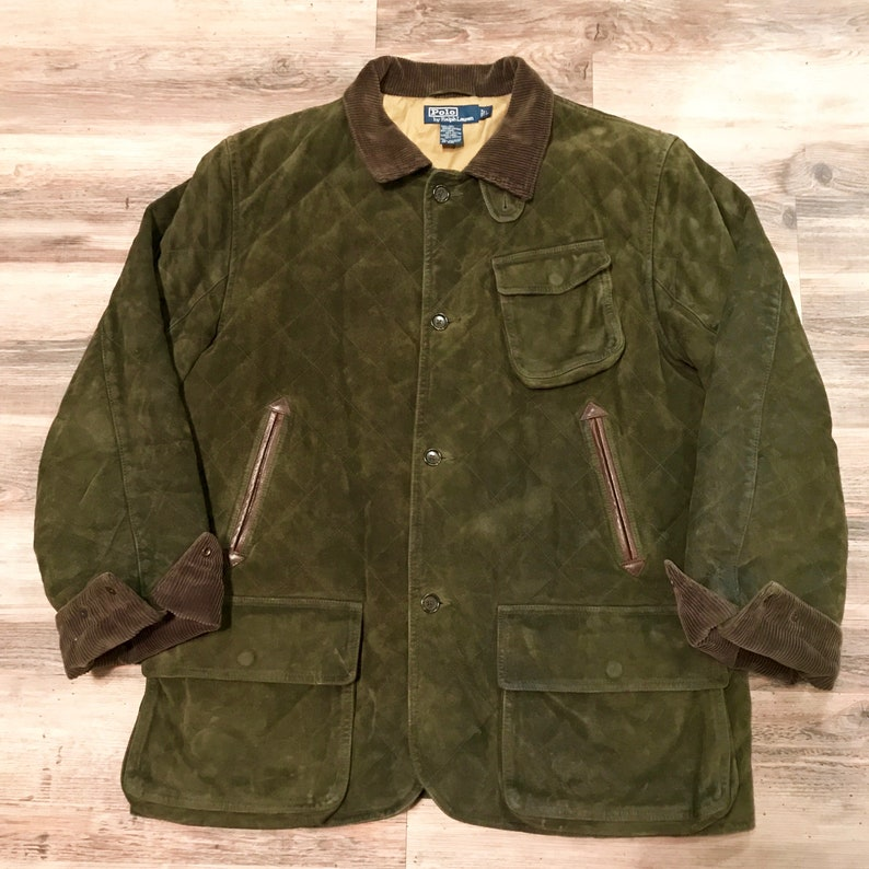Green Corduroy Game Chore Coat Quilted Trimmed Suede Small Barn 90s Polo Hunting Rare Ralph Lauren Dark Outdoors Vintage eDIWH29EY