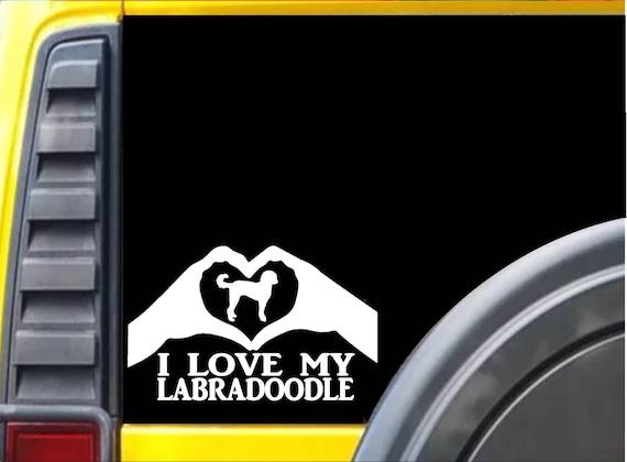 Goldendoodle Heart Hands K595 8 vinyl sticker dog Window Decal