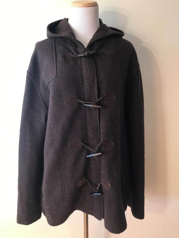 Jones NY Wool Brown Hooded Blanket Coat