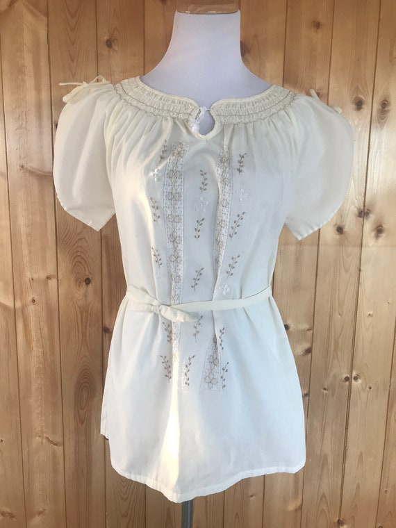 Vintage 60's Embroidered Cotton Peasant Blouse