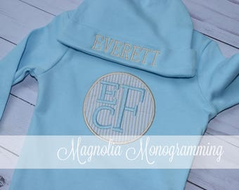 Monogrammed Baby Gown and Newborn Cap