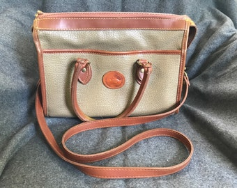 Vintage Dooney & Bourke All Weather Leather Tan Hand Bag Shoulder Purse
