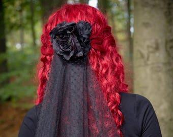 Gothic black rose hair comb veil