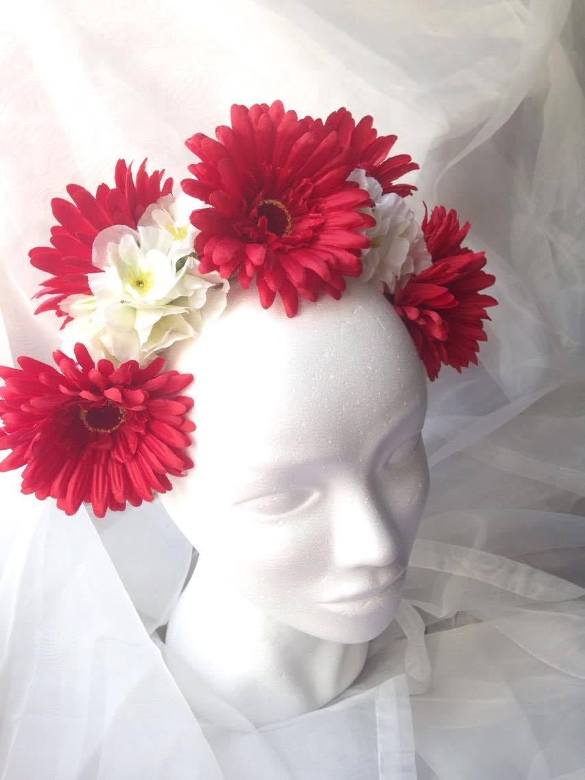 Red And White Wedding Flower Crown Fantasy Bridal Headpiece Etsy
