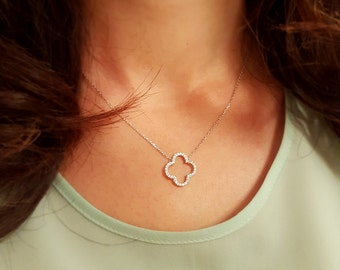 Delicate, Simple, Tiny Pave Outline Necklace in 14 k Gold Fill, Sterling Silver, Rose Gold Fill, Tiny Alhambra CZ Diamond Necklace PndtA010