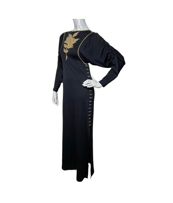 Jean Varon Vintage 1970s Black Gold Maxi Dress