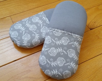 Gray Feathers Women's Cotton Slippers - Indoor Slip On Soft Sole Slippers