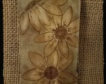 Wood Sunflower Hang Tag