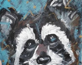 Raccoon painting, acrylic, miniature painting, wildlife painting