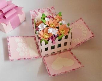 Flower Explosion Box - Paper Flower - 3D Card - Templates - Video Tutorial - Instant Download - SVG - Silhouette - Scan&Cut - 3D - DIY