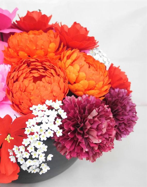 Printable Pom Pom Dahlia Templates Tutorial Paper Flower Etsy