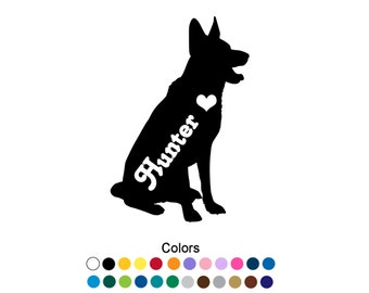 German Shepherd Decal German Shepherd Sticker German Shepherd Dog Outdoor Vinyl Name Sticker Name Decal Heart Decal Personalized Decal D1102