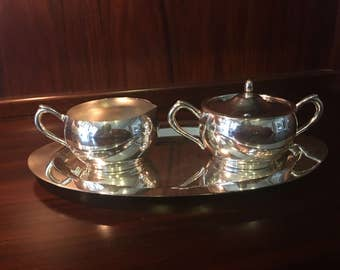 Lovely Midcentury Silver Plate Sugar, Creamer, and Tray Set