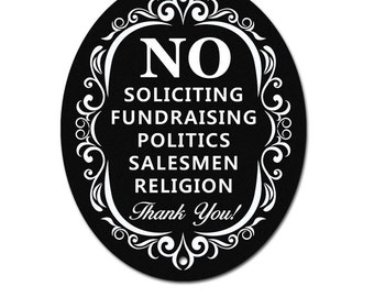 No Soliciting Sign for Home and Business | Stylish Laser Cut to Perfection | Weatherproof and Lasts Longer | Love it or Your Money Back!