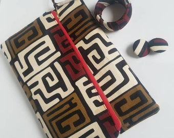 African fold-over cloth bag and bangle+earring set