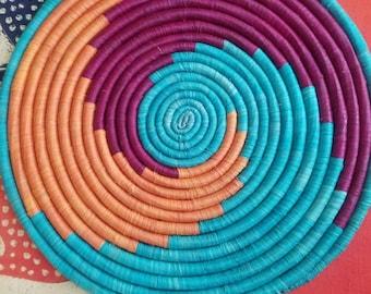 "12""African basket platter made in Uganda"
