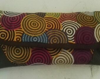 ankara print with leather clutch