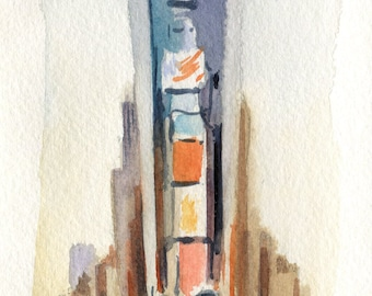 4x8 Times Square - Original Watercolor Painting