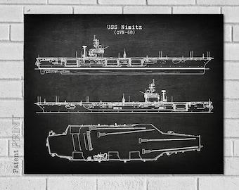 e2a450a1605 USS Nimitz Boat Diagram Print - Nimitz CVN68 - Military Vessel - Navy Print  - Boat Art - Aircraft Carrier Ship - Ship Print - Patent VB068