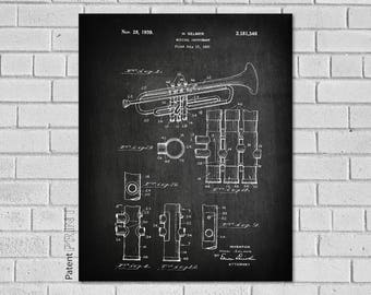 Trumpet blueprint etsy more colors malvernweather Image collections