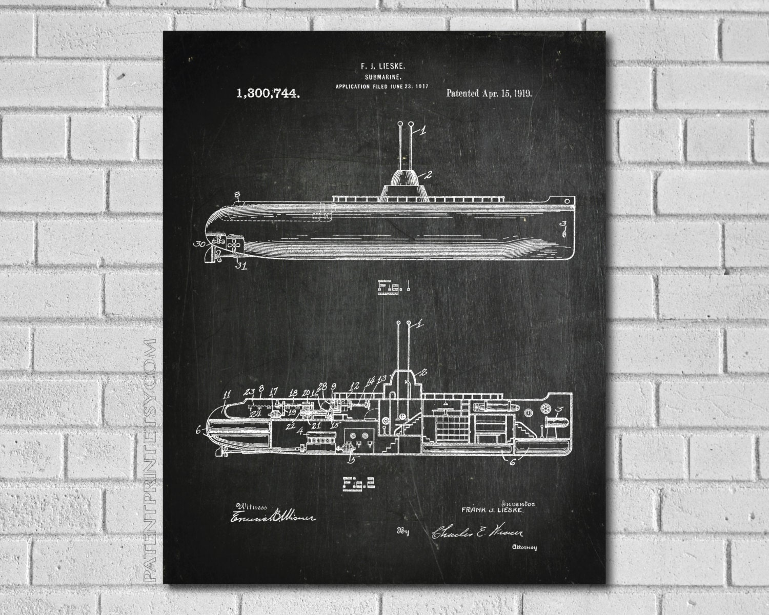 Submarine Print Navy Submarine Poster Submarine Wall Art