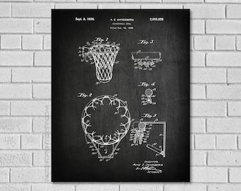 Basketball Net Decor - Basketball Goal Blueprint - Basketball Patent Print - Basketball Wall Art - Historic Basketball poster - SB635