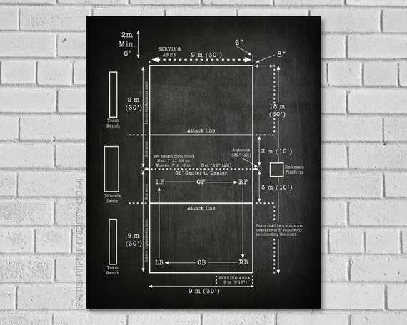 Volleyball Court Patent Print Volleyball Decor Volleyball Etsy