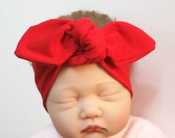 Ruby red Baby Hair Bands Bows Baby Hair Turbans Newborn photo accessories  Baby Hair Accessory Ribbons Hairbands mum baby same hair bands d3e007cc63a