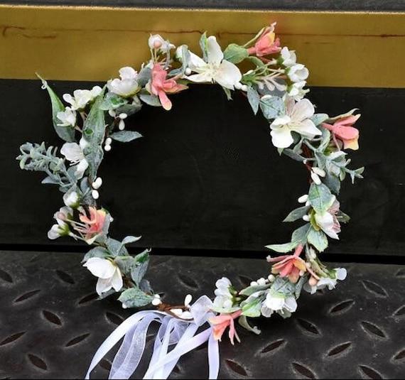White coral flowers crown women hair wreaths flower tiaras etsy image 0 mightylinksfo