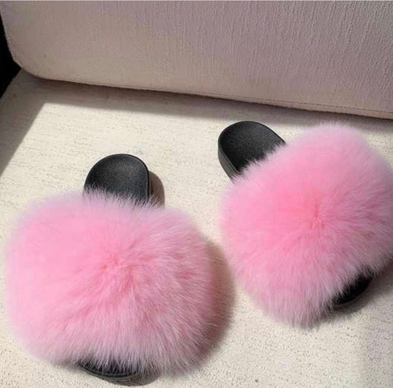 Fox Furry Slippers Fuzzy Sandals Custom