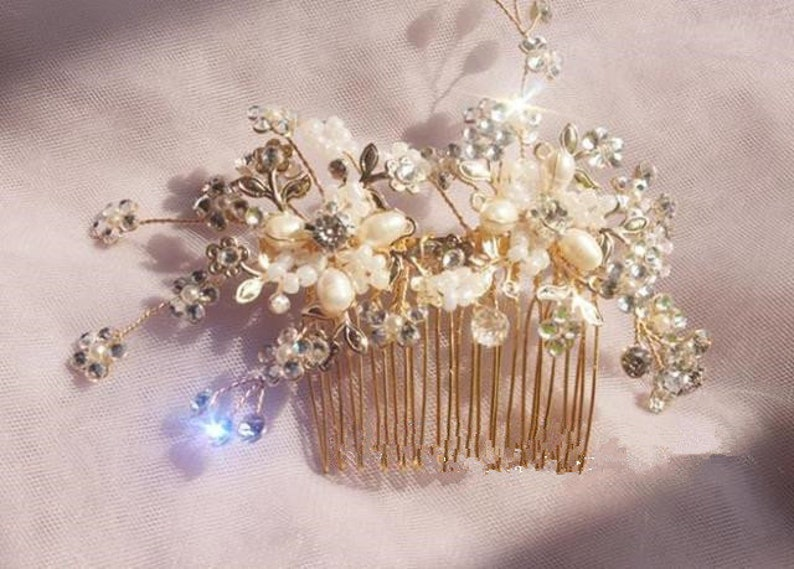 Bride Bling Comb Rhinestone Pearls Hair Comb Chic Nice Ivory Gold Beige BridalBridesmaidBride Comb